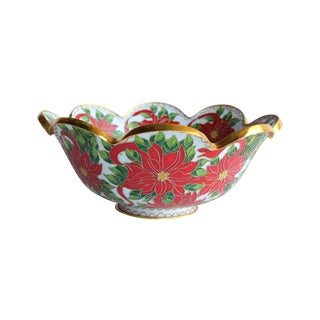 Chinese Cloisonné Poinsettia Centerpiece Bowl