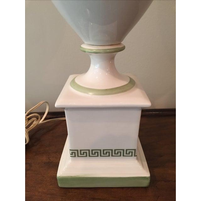 White & Light Green Greek Key Urn Lamp - Image 3 of 8