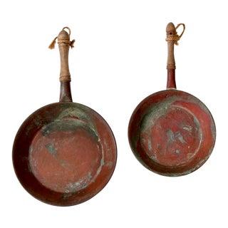 Antique Copper Saute Pans - a Pair