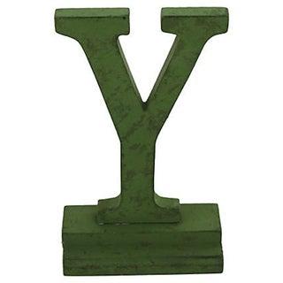 """Green Vintage Letter """"Y"""""""