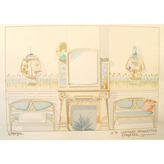 Image of Vintage French Decorator Sheet Interior/Fireplace