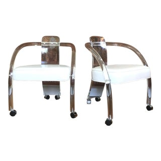 Charles Hollis Jones Lucite Chairs A Pair