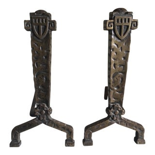 1930's Vintage Gothic Fireplace Andirons - a Pair