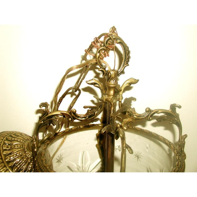 Etched & Rewired German Crystal/Bronze Fixture - Image 8 of 10
