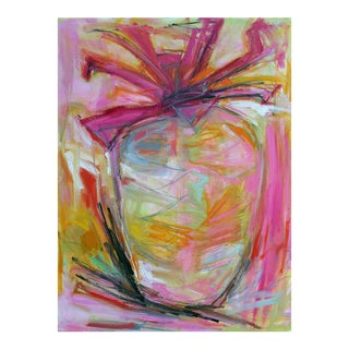 "Large Abstract Oil Painting by Trixie Pitts ""Pink Pineapple"""