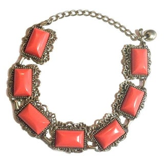 Chunky Coral Link Collar Necklace
