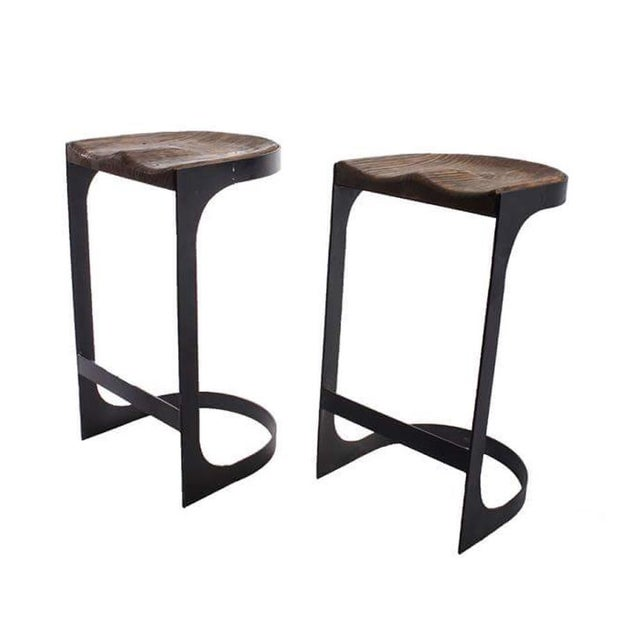 Rustic Wood and Iron Bar Stools - A Pair - Image 3 of 4