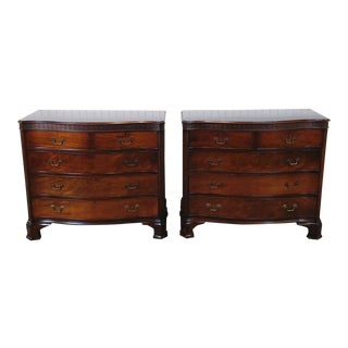 Stiehl Serpentine Chippendale Mahogany Bachelors Chests - A Pair