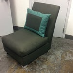 Image of Donghia Green Upholstered Tuxedo Chair With Pillow