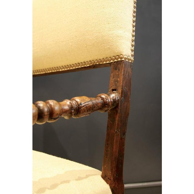17th Century Flemish Walnut & Raw Silk Upholstered Elbow Chairs - A Pair - Image 3 of 9