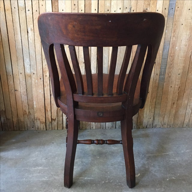 Antique Walnut Bankers Lawyers Office Chair - Image 6 of 10