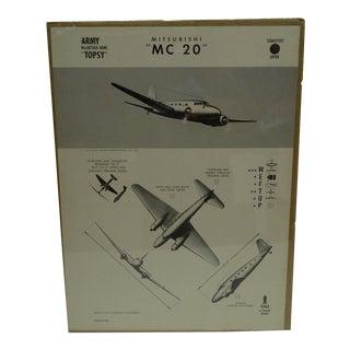 Circa 1943 WWII Aircraft Recognition Poster -- Mitsubishi MC 20 Japan