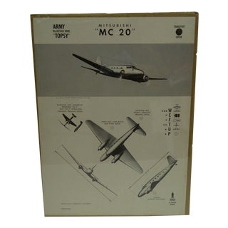 Circa 1943 WWII Aircraft Recognition Poster -- Mitsubishi MC 20 Japan