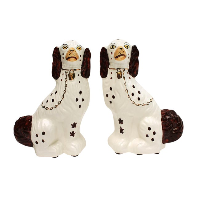 Image of Staffordshire-Style Ceramic Dogs - A Pair