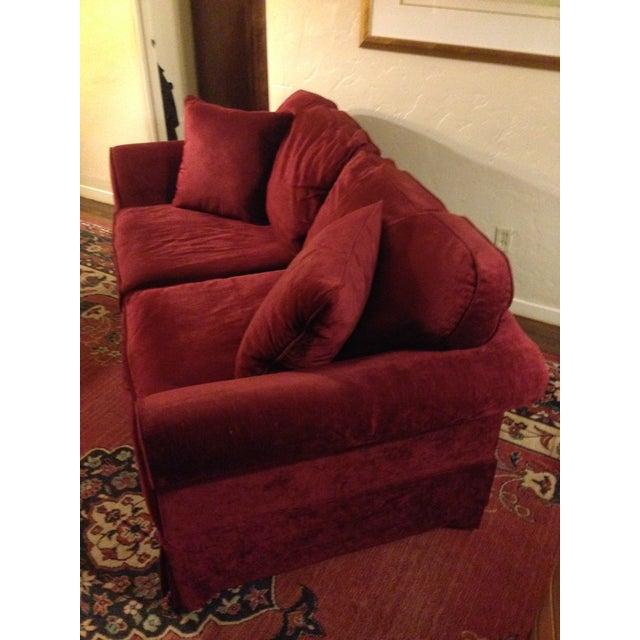 Laura Ashley Red Velvet Loveseat Sofa Chairish