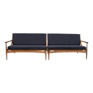 Walnut Danish Minimalist Spindle Back Sectional Sofa