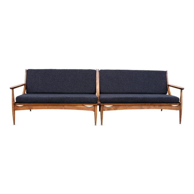 Walnut Danish Minimalist Spindle Back Sectional Sofa - Image 1 of 11