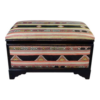 Antique Turkish Kilim Cedar Storage Trunk Bench