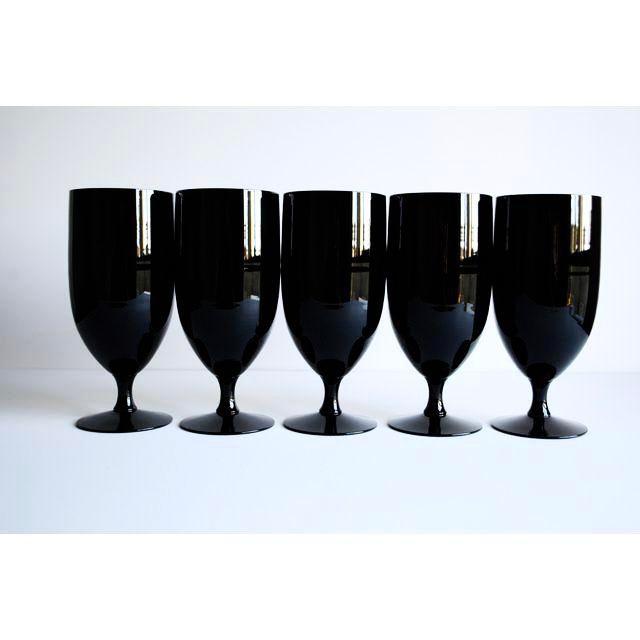 Mid-Century Black Glasses - Set of 5 - Image 2 of 4