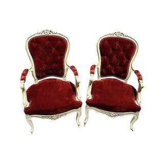 19th C. Louis XV Style Arm Chairs - A Pair