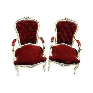 19th C. Louis XV Style Arm Chairs - A Pair