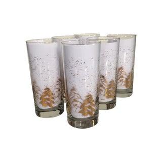 Vintage Dansk Gold Holiday Glasses - Set of 6