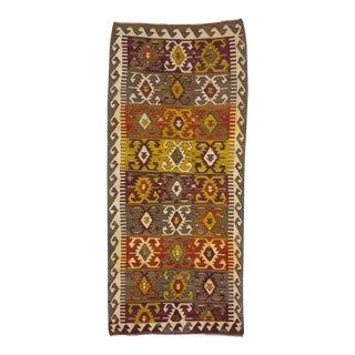 Handwoven Vintage Turkish Kilim Rug - 3′10″ × 8′5″