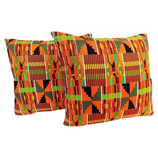 Kente Cloth Pillows, Pair
