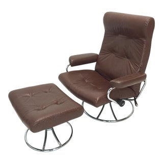 Vintage Ekornes Stressless Chair With Ottoman Chrome Swivel Base, All Original
