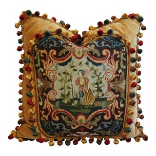 Custom Antique French Needlepoint & Velvet Pillow