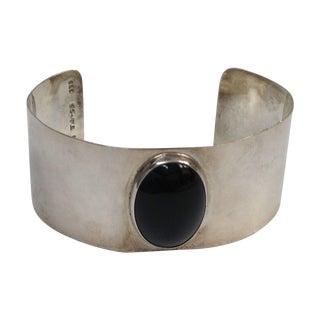 Mexico Sterling Silver Onyx Modernist Bracelet 925