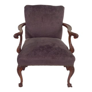 Antique Purple Velvet Claw Foot Chair