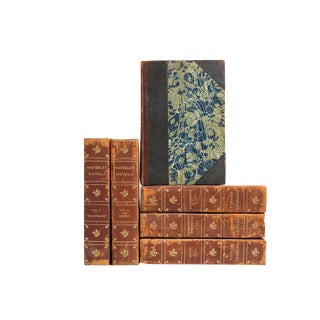 Antique Marbleized Leather Novels- Set of 6