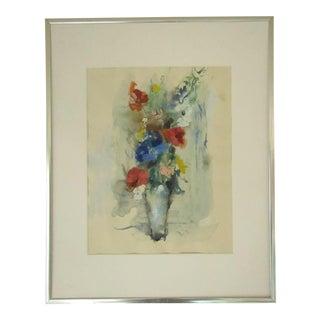 Flowers in Vase Original Watercolor Painting