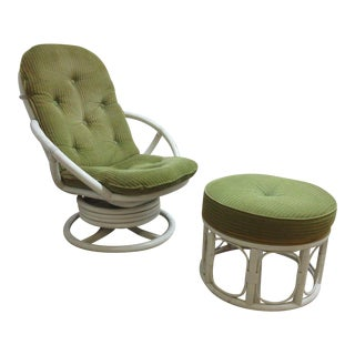Vintage Mid-Century Rattan Bamboo Clarke Casual Lounge Chair and Ottoman