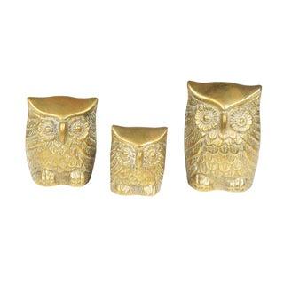Leonard Cast Brass Owls - Set of 3