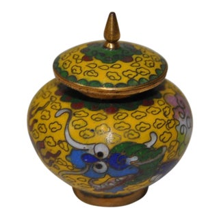 Chinese Enamel Cloissone Jar with Lid