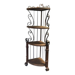 Spanish-Style Iron & Wood Corner Shelf