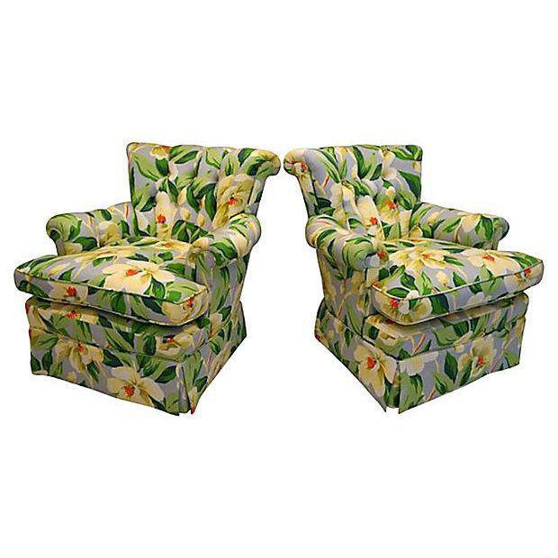 Mid-Century Floral Print Button Tufted Chairs - A Pair - Image 2 of 5