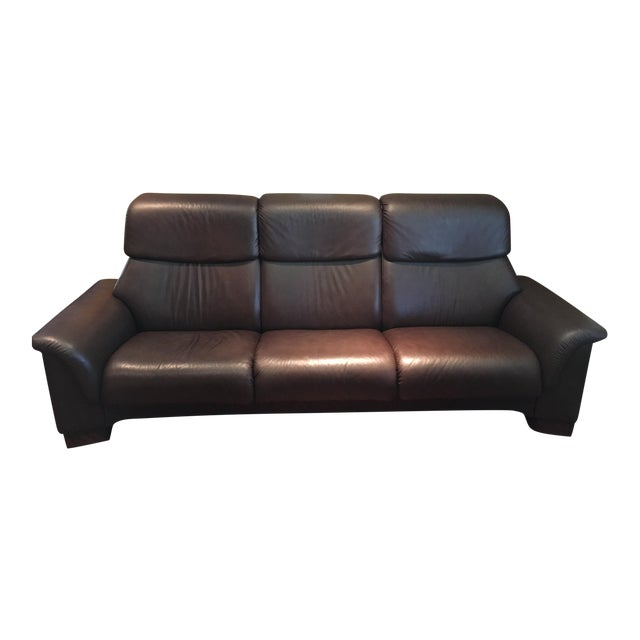 ekornes stressless paradise high back leather sofa chairish. Black Bedroom Furniture Sets. Home Design Ideas