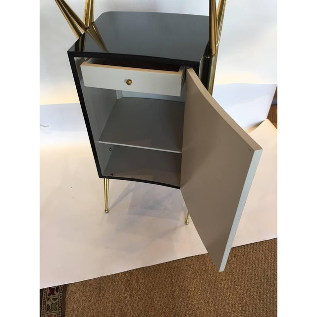 Italian Modernist Dry Bar with Floating Glass Top and Brass Accents - Image 6 of 6