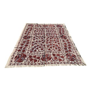 "Handmade Suzani Pomegranate King Size Bedspread / Wall Hanging or Table Cloth - 8'3"" x 6'7"""