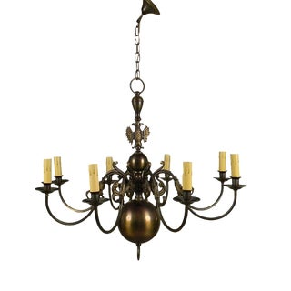 1940's European Brass Chandelier