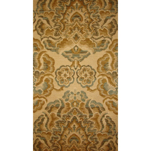 Image of Antique French Damask Green Tan Brown Fabric