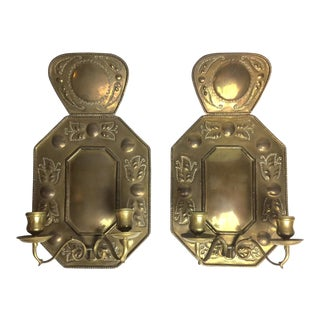 Swedish Hand Hammered Brass 2 Light Sconces, 19th Century- A Pair