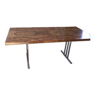 Vintage Laminated Burl Wood Dining Table