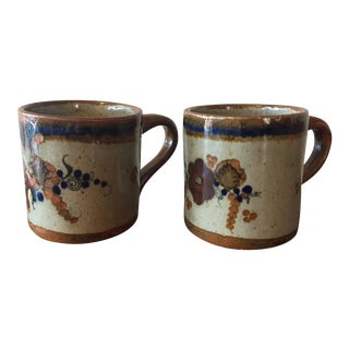 Tonala Mexican Brown & Blue Pottery Mugs- A Pair