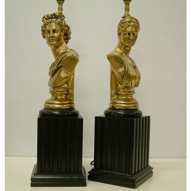 Brass Classical Bust Lamps - A Pair - Image 7 of 8