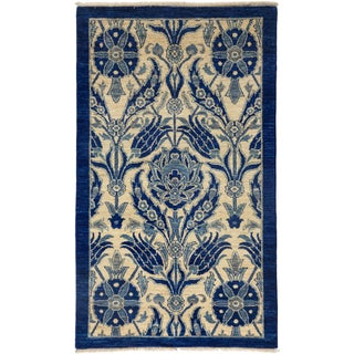 """Blue Suzani Hand-Knotted Rug - 3'3"""" X 5'4"""""""