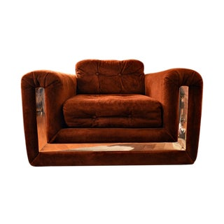 1970s Retro Velvet & Chrome Club Chair/Lounge
